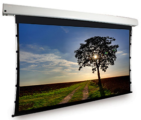 Dragonfly™ Motorized Tab Tension 130 in. Matte White Projection Screen (16:9 Aspect Ratio)